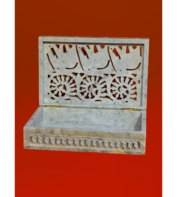 Soap stone carved jali box 6x4 inch