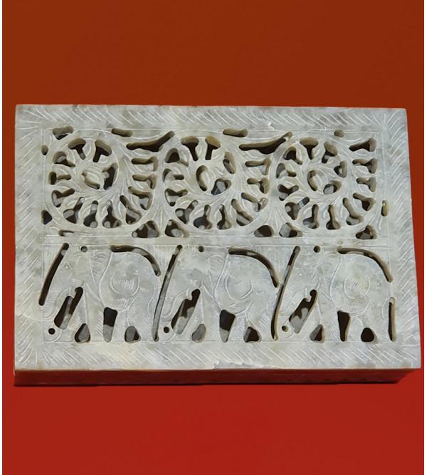 Soap stone carved jali box 6x4 inch