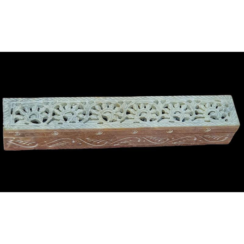 Soap stone jali carved box 10x2 inch