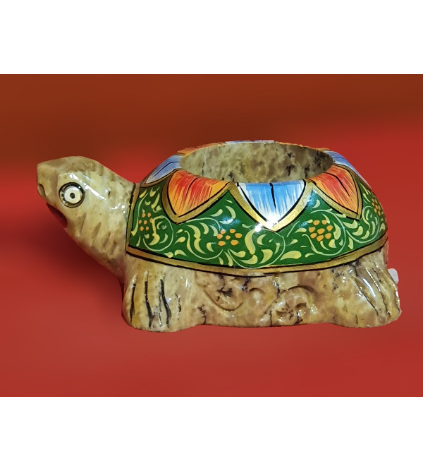 Soap Stone Painted Tortoise Candle Holder Size 5 Inch
