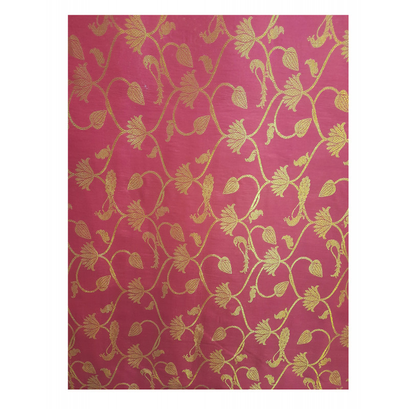 Handwoven Katan Silk Zari Fabric from Banaras Width 44 Inch