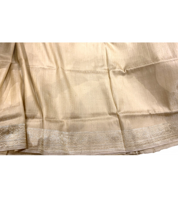 Banaras silk self design zari border saree with blouse