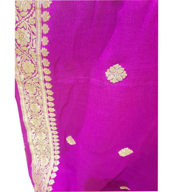 Handwoven georgette Silk Zari Fabric from Banaras Width 44 Inch