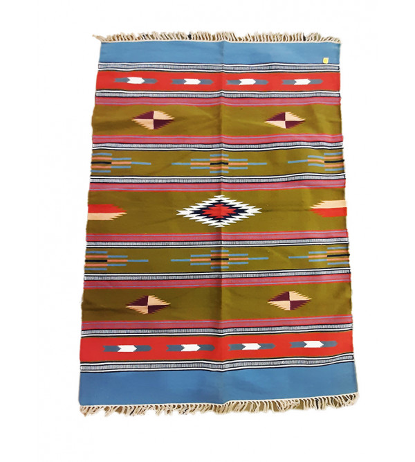 Cotton Handwoven Durries  from Mirzapur Size 4ft x 6 ft