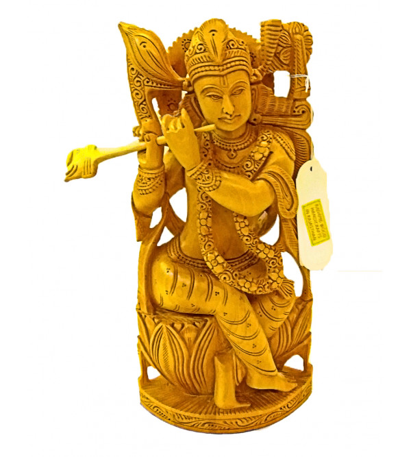 GOD FIGURE CARVED KADAM WOOD KRISHNA 11 INCH