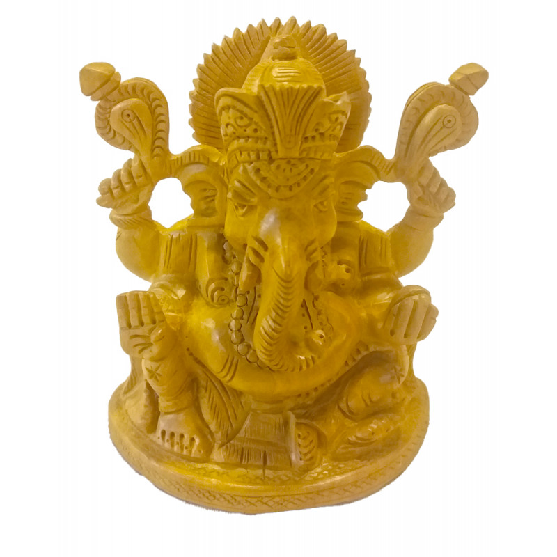 Kadamba Wood Handcrafted Carved Lord Ganesha Figure