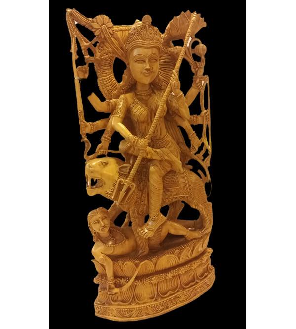 Kadamba Wood Handcrafted Carved Figure of Goddess Durga