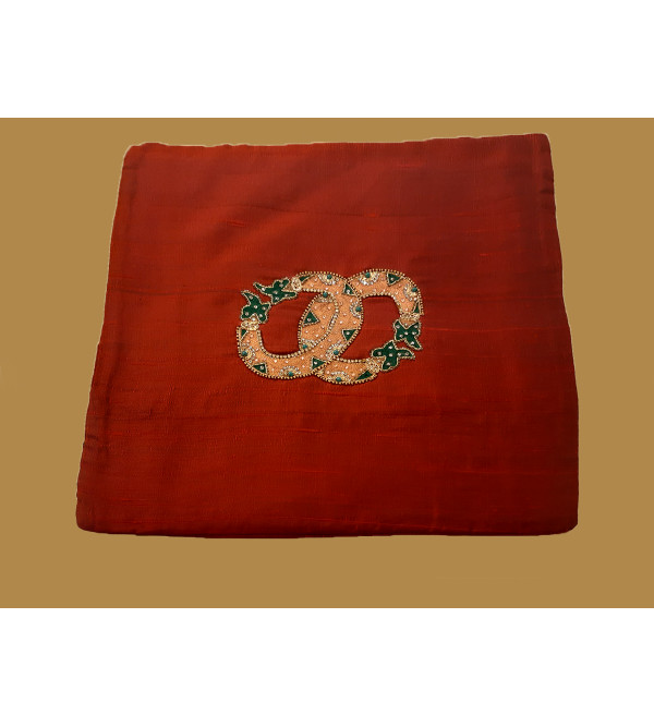 Silk Hand Embroidered  Cushion Cover Size 16x16 Inch