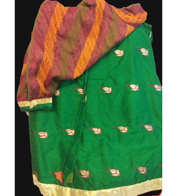 Plain Silk Embroidery Lengha Choli Set Size 1 to 2 yr