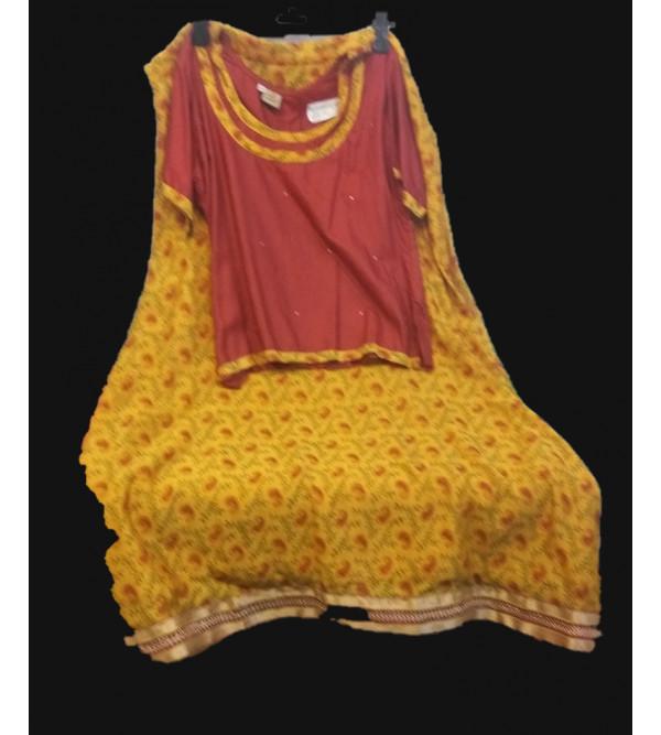 Printed Silk Lehenga  Choli Set Size 10 to 12 years