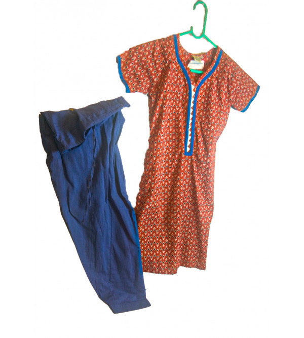 Cotton Printed Kameez With Plain Salwar Set Size 6 to 8 Year
