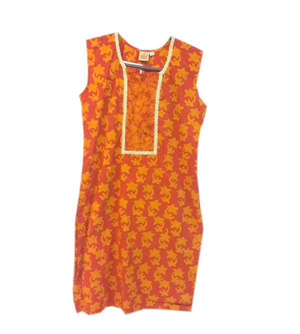 Cotton Batik Printed Long Kurta For Girls Size 6 to 8 Year