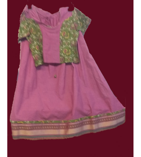 Cotton Manglagiri Lehenga Choli Set Size 6 to 8 Year