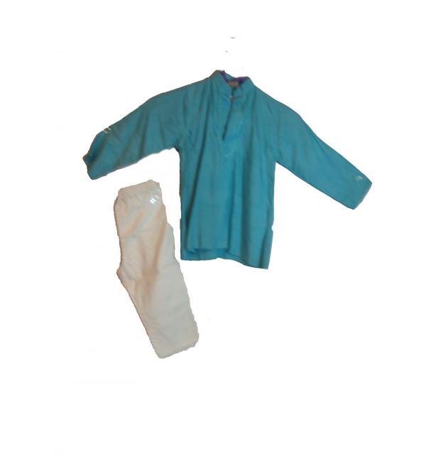 Cotton Silk Blend Kurta Pajama Set Size 1 to 2 Year