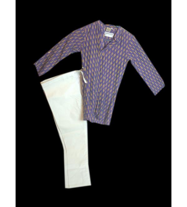 Cotton Ikat  Kurta Pajama Set Size 4 to 6 Year