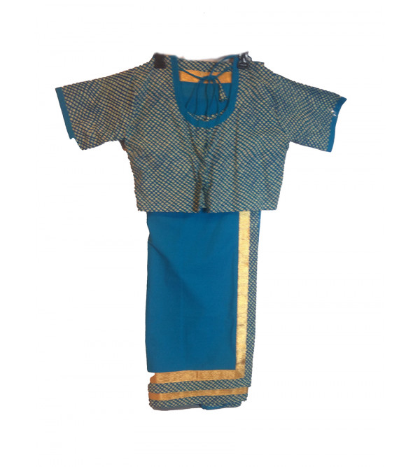 Cotton Plain Stitched Saree With Printed Blouse Size 10 to 12 Year