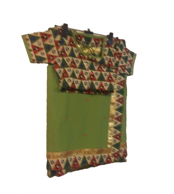 Cotton Plain Stitched Saree With Printed Blouse Size 2 to 4 Year