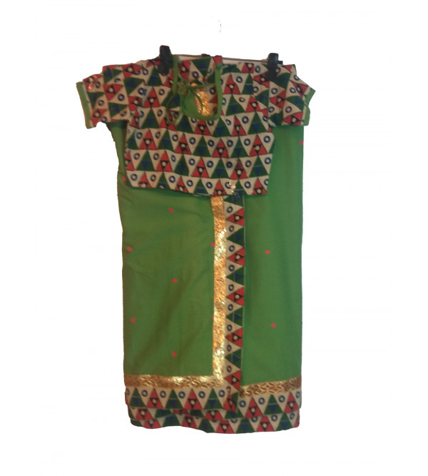 Cotton Stitched Saree With Blouse Size 6 to 8 Yr