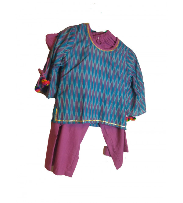 Cotton Ikat Kurta Pajama Set Size 2 to 4 Year