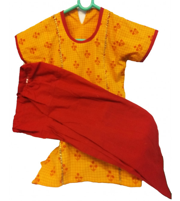 Cotton Printed Kameez With Plain Salwar Set Size 2 to 4 Year