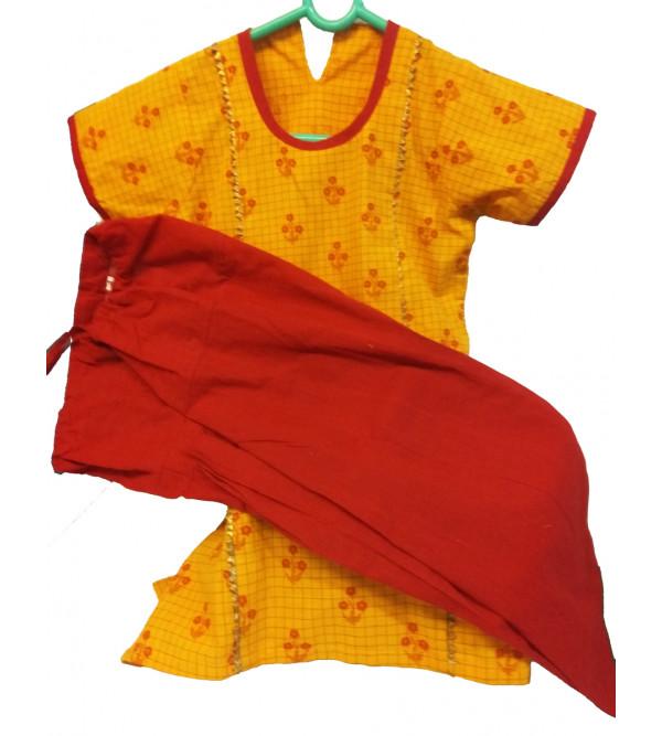 Cotton Printed Kameez With Plain Salwar Set Size 2 to 4 Year
