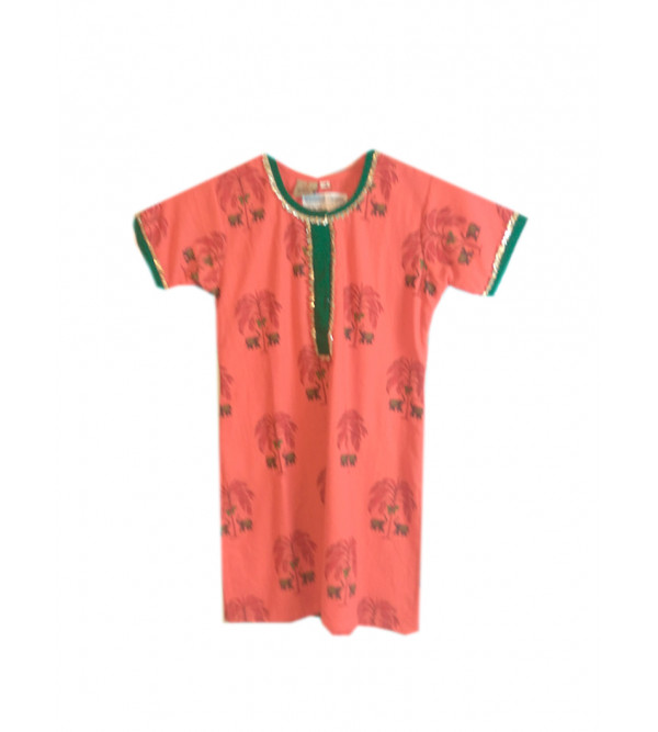 Cotton Printed Girls Kurta Size 2 to 4 Year