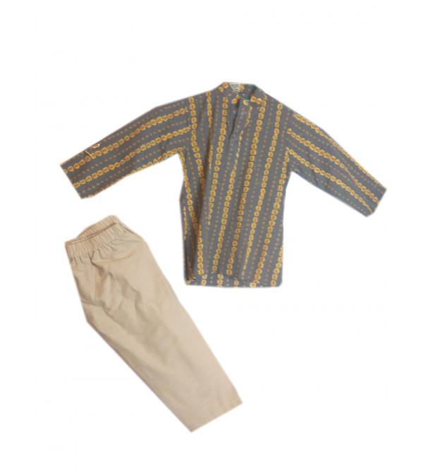 Cotton Printed Bagru Kurta Pajama Set Size 2 to 4 Year