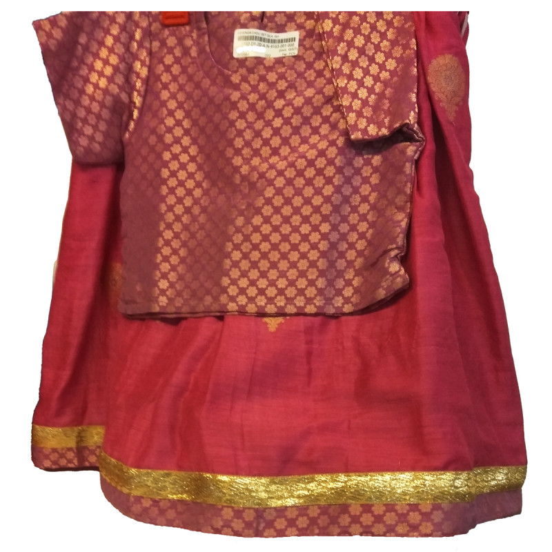 Plain Silk Lehenga Choli Set Size 1 To 2 Years
