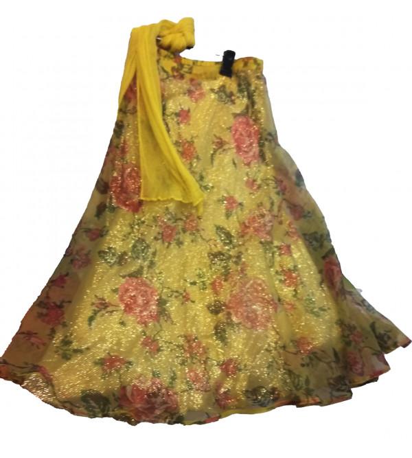 Printed Silk Lehenga  Choli Set Size 4 Years