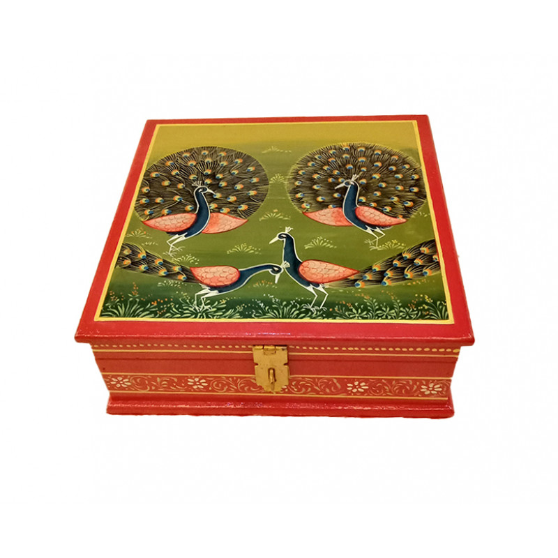 Wooden Hand Painted Box Size 7X7 Inches