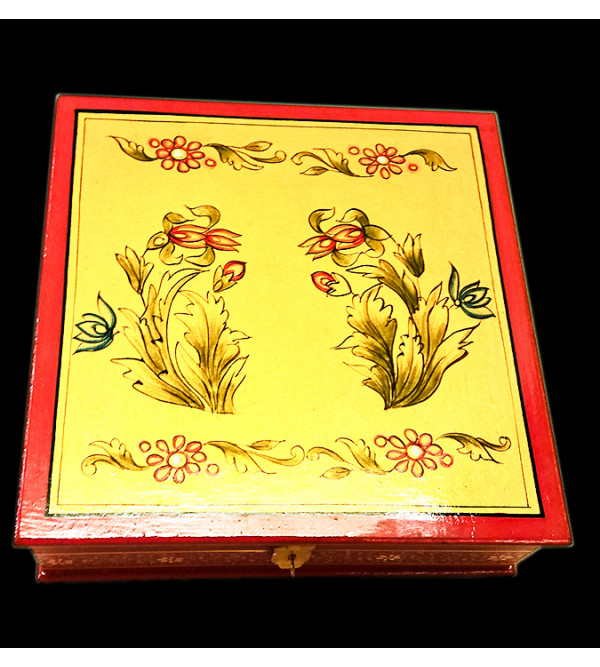 Wooden Hand Painted Box Jaipur Style Size 8 Inches