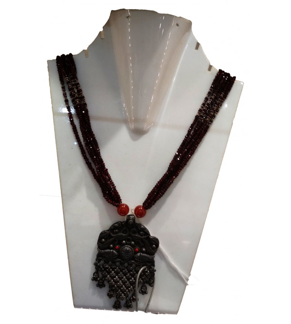 Handicraft Necklace Silver Garnet Onyx Stone  92.5% Purity