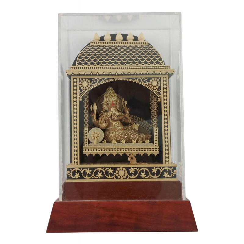HANDICRAFT ON KAMAL CRAVED SANDAL WOOD GANESH  7X4.5 INCH