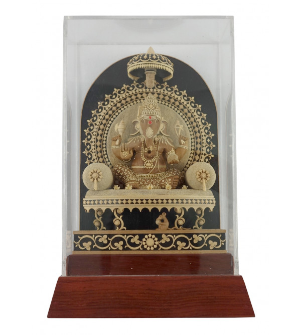 HANDICRAFT ON KAMAL CARVED SANDALWOOD GANESH 7X4.5X2 INCH