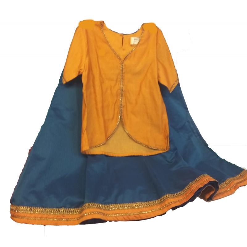 Plain Chanderi Silk Lehenga  Choli Set Size 6 to 8 Year