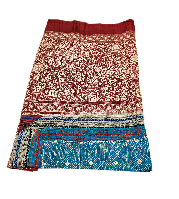 DUPATTA 98X34 INCH KANTHA SILK ALL OVER EMBROIDERY ASSORTED