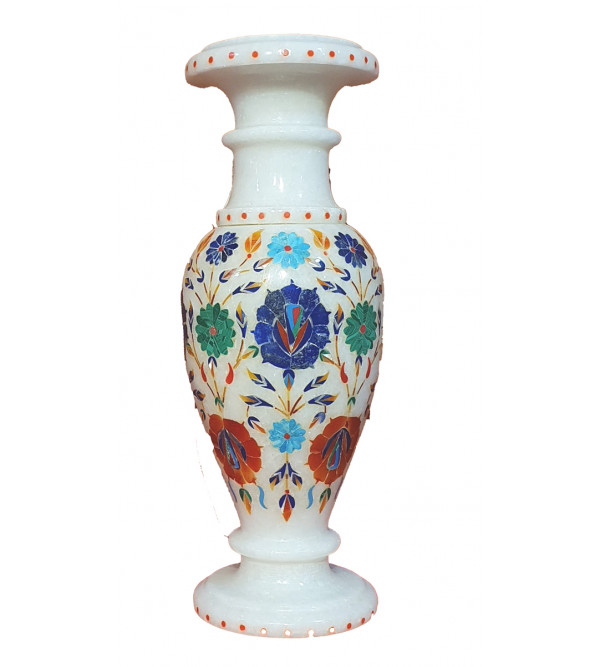 10 inch Marble flower vase with semi precious stone