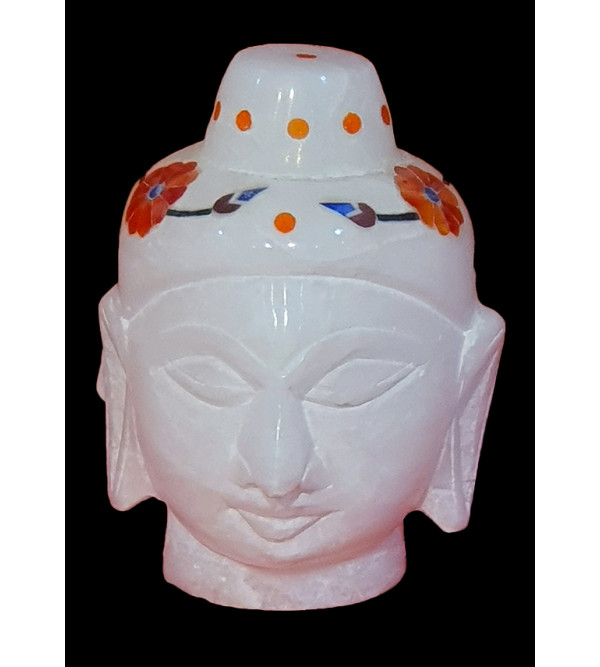 Alabaster Buddha Head With Semi Precious Stone Inlay Size 2 Inch