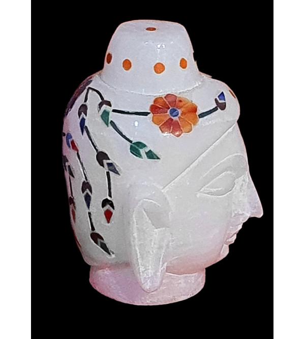 2inch Alabaster Budha head inlay semi precious stone