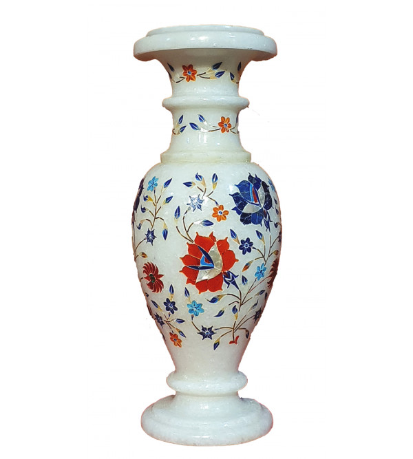 Marble Inlay Vase With Semi Precious Stone