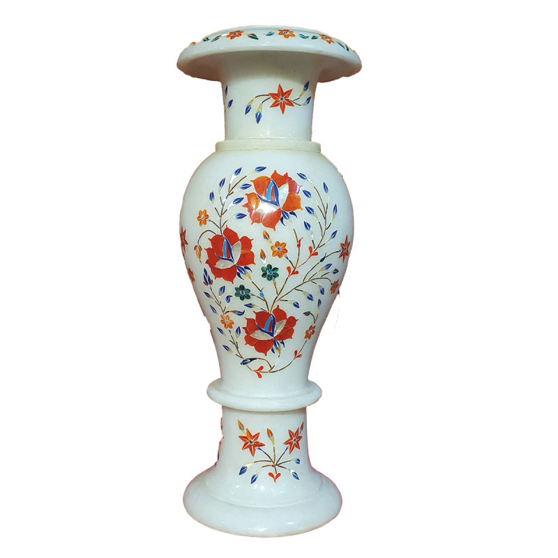 Marble Inlay Vase With Semi Precious Stone Size 13 inch