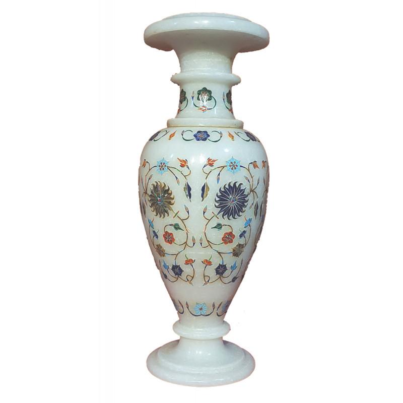 Marble Flower Vase with Semi Precious Stone Inlay