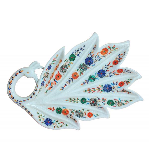 TRAY MARBLE 15 inch with semi precious stone inlay