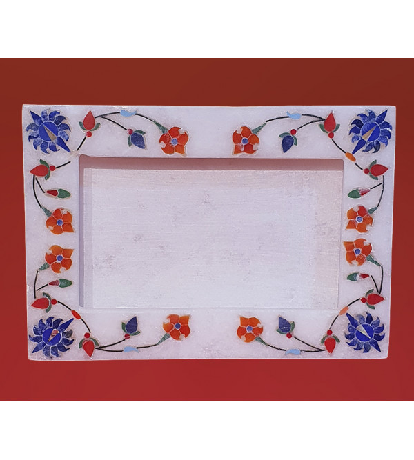 Alabaster Phot Frame With Semi Precious Stone Inlay Size 5x7 Inch