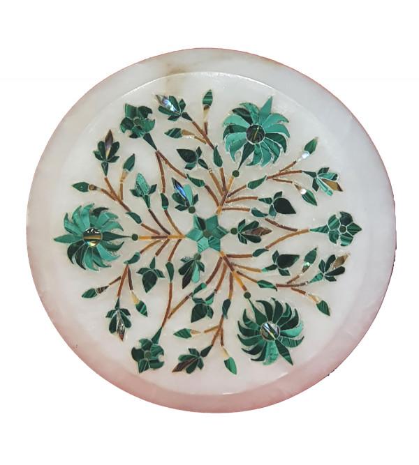 Alabaster Chowki  with inlay semi precious stone Size 4 inch