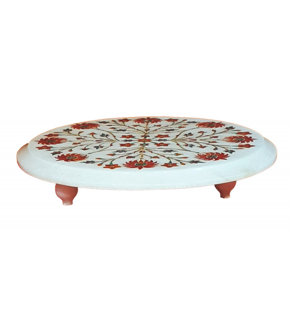 Alabaster Chowki With Semi Precious Stone Inlay Work Size 7 Inch