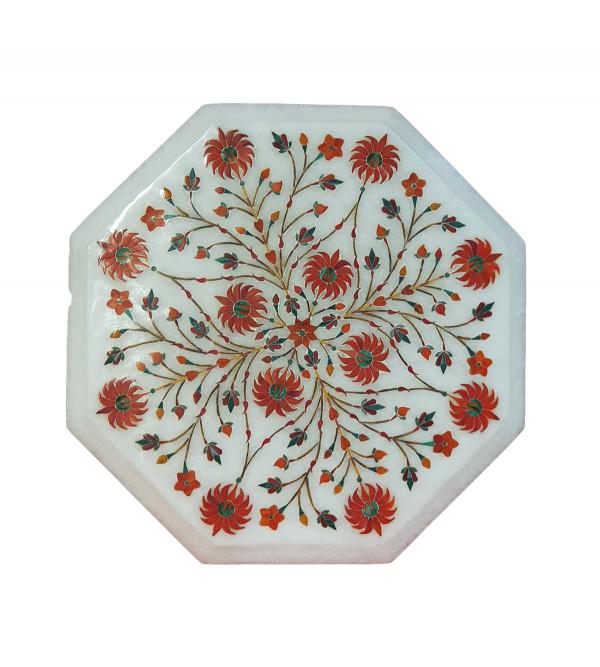 Alabaster Chowki With Semi Precious Stone Inlay Work Size 8 Inch