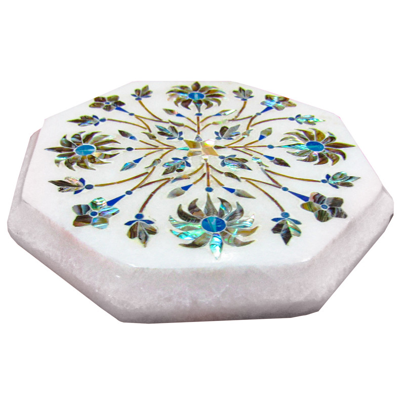 Alabaster Chowki Size 4X4 Inch With Assorted Designs and Colors