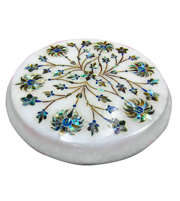 Alabaster Chowki Size 5 X5 Inch With Assorted Designs and Colors
