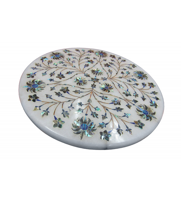 Alabaster Chowki Size 7X7 Inch With Assorted Designs and Colors